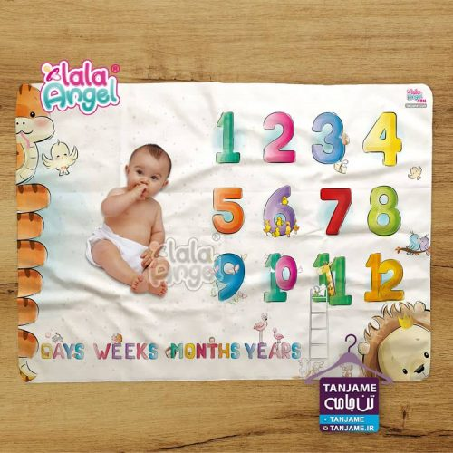 پارچه ماهگرد نوزاد طرح اعداد تپل برند لالا آنجل lalaangel