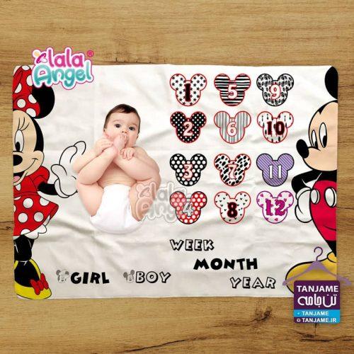 پارچه ماهگرد نوزاد طرح میکی موس برند لالا آنجل lalaangel