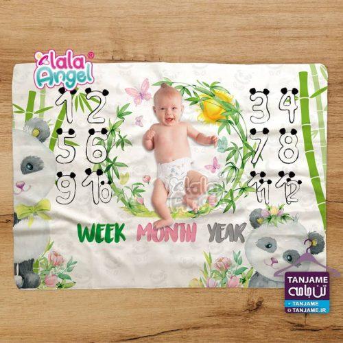 پارچه ماهگرد نوزاد طرح پاندا panda برند لالاآنجل lalaangel