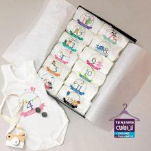 لباس ماهگرد نوزاد طرح حیوانات
